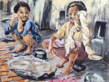 'Umbica and Menica washing dhotis, Karipati' by artist Annabel Potterton.