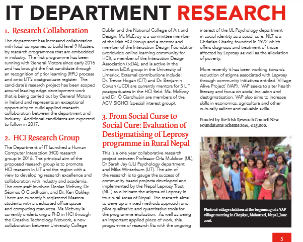 Limerick Institute of Technology, It Department research newsletter. Page 5, Spring Summer 2017.